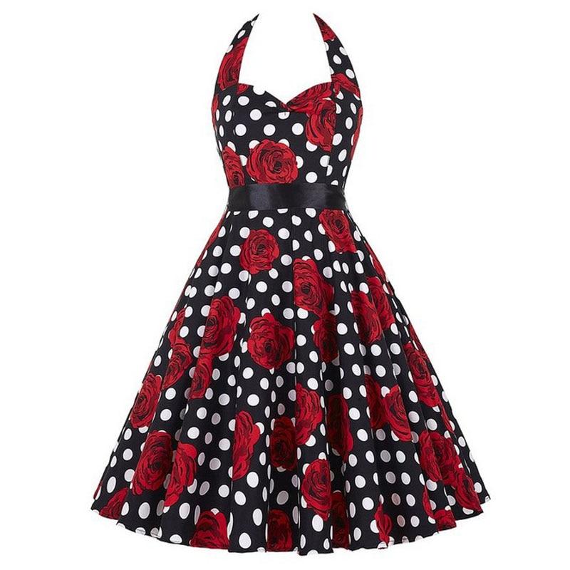 Sexy Halter Party Dress Retro Polka Dot Hepburn Vintage 50s 60s Pin Up Rockabilly Dresses Robe Plus Size Elegant Midi Dress 22