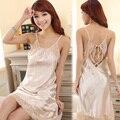 Sexy correa de espagueti de seda femenino camisón de encaje sexy mujer ropa de dormir de algodón de verano 100% Homewear femenino