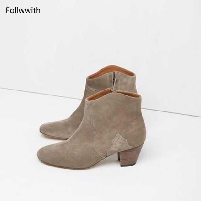 32e63a19f Сменные замшевые ботильоны западные ковбои Сапоги и ботинки для девочек  follwwith бренд ретро Проблемные Байкер Для