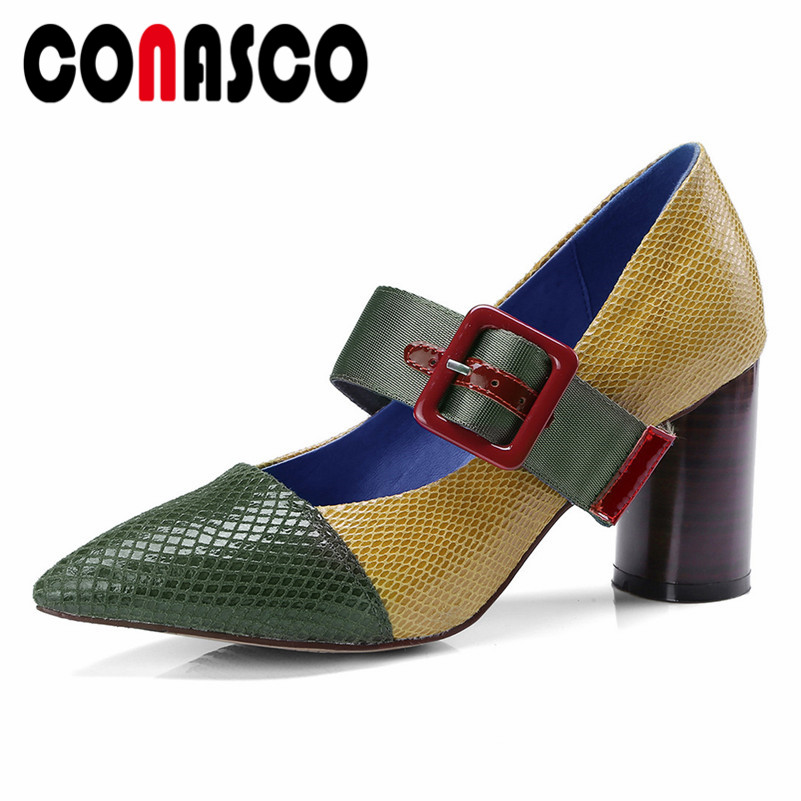 CONASCO New Women Mary Janes Pumps Genuine Leather High Heels Shoes Woman Spring Autumn Pointed Toe Sexy Party Dancing Shoes large size 42 rhinestone shoes women low heel pumps pointed toe genuine leather shoes women high heels mary janes ladies shoes
