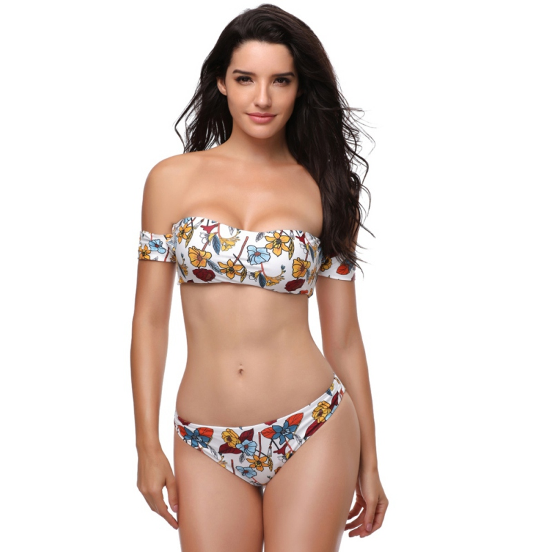 Multicolor Tankini Swimwear Lady Split Print Shoulder Sexy Off Shoulder Wire Free Padded Bra Swimsuit Beach Bathing Suit