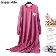 Цзиньсэнь Aite из хлопка в полоску с длинными рукавами большой Размеры домашнее платье для беременных, одежда для сна, Повседневное Для женщин ночные рубашки для девочек JS752