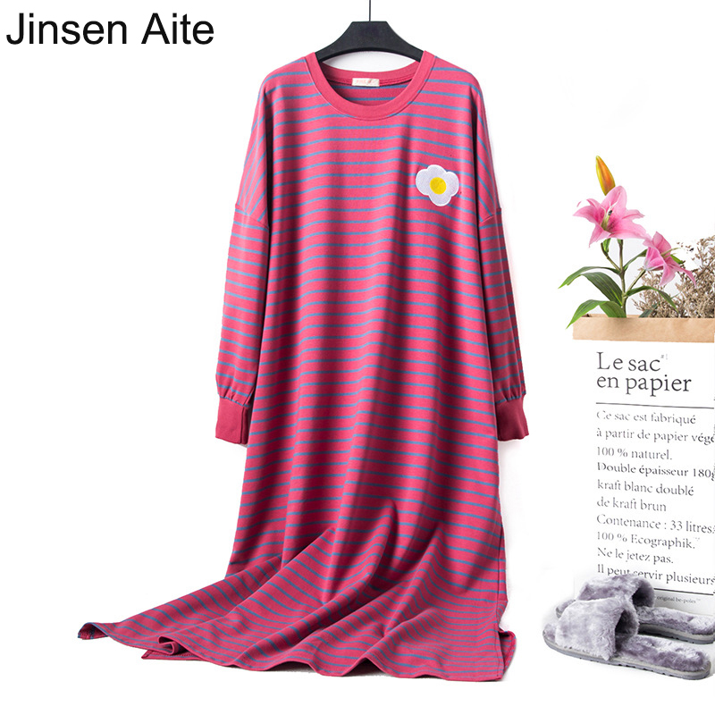 Jinsen Aite 2019 Cotton Striped Long Sleeve Large Size Home Dress Pregnant Sleepwear Casual Women Nightgowns Sleepshirts JS752