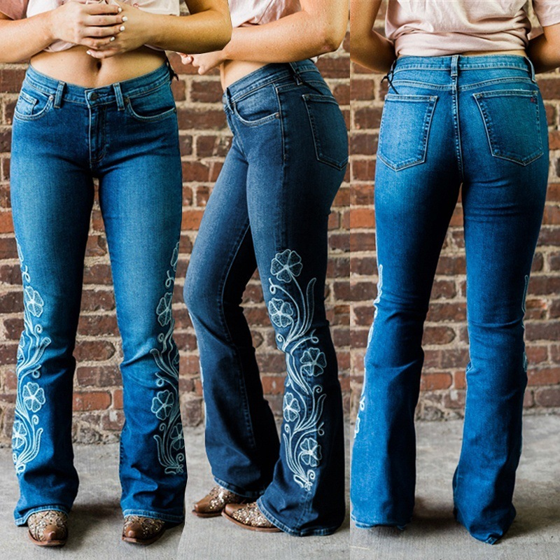 Vintage High Waist Flare Jeans Women Slim Push Up Denim Trousers Boot Cut Jeans Plus Size Ladies Embroidered Jeans For Women