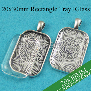 20x30mm Antique Silver Rectangle Pendant Tray Cabochon Setting Rectangle Pendant Bezel Tray with Matching Glass Cabochon