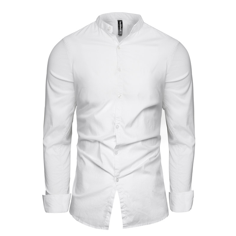 GustOmerD 2018 New Fashion Male Shirt Long Sleeves Tops Solid Turn-down Collar Mens Dress Shirts Mandarin Collar Slim Men Shirt