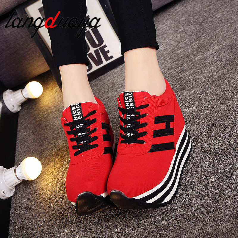 Women Casual Shoes Fashion Women Height Increasing Breathable Lace-Up Wedges Casual Platform Shoes Canvas Women Shoes 9cm