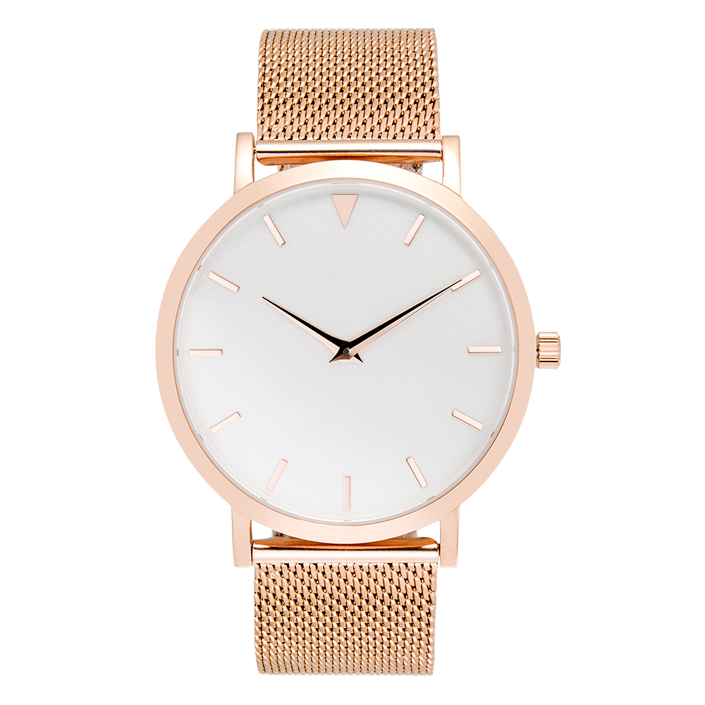 Stainless Steel Rose Gold Case Watches, Simple Design Wristwatch, Mesh Steel Unbranded Watch jilly kingdom summer style girls clothing set baby girls clothes set lovely toddler girl tops pants girls suit kids clothes 3 7t