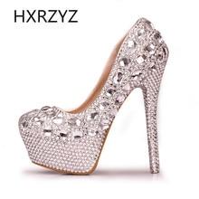 женская обувь ручной работы насосов женщин благородного бриллиантовую свадьбу туфли каблуки сексуальные высокие мода женские платья обувь 10 см 12 см 14 см