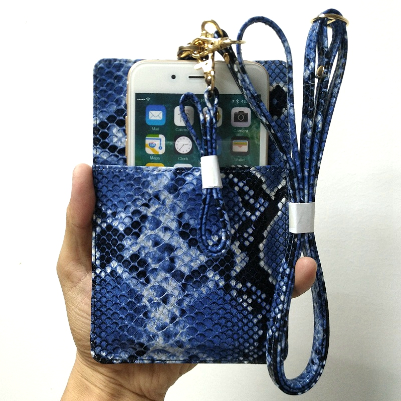 Genuine Leather Card Holder Pouch Phone Bag Case For iPhone X XS Max XR 7 8 Plus Luxury Snake Hand Strap Ultra Thin Slim Cover