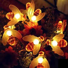 3M 20LED 5M 30LED Bees String Lights Christmas Fairy Garlands Outdoor Battery Flash For Holiday Xmas Party Garden Decor yingtouman 2018 battery powered yellow crack ball fairy string lamp outdoor christmas day garden party decoration light 5m 30led