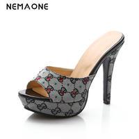 New Peep Toe High Heels Women Sandals Shoes Sexy Thin High Heel Slides Shoes Woman High
