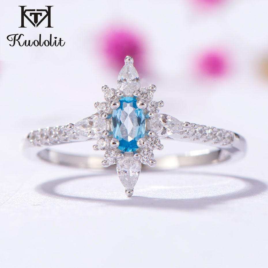 Kuololit Natural Blue Topaz Gemstone Rings For Women 925 Sterling Silver Oval Cut Stone Ring Engagement Bride Gifts Fine Jewelry