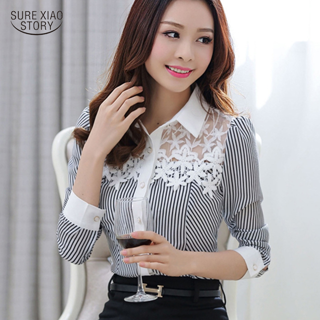 Novas Blusas 2016 Primavera Longo-luva Elegante Magro Listrado Impressão Rendas Patchwork Camisa Chiffon Plus Size Mulheres Lace Tops 801C 25