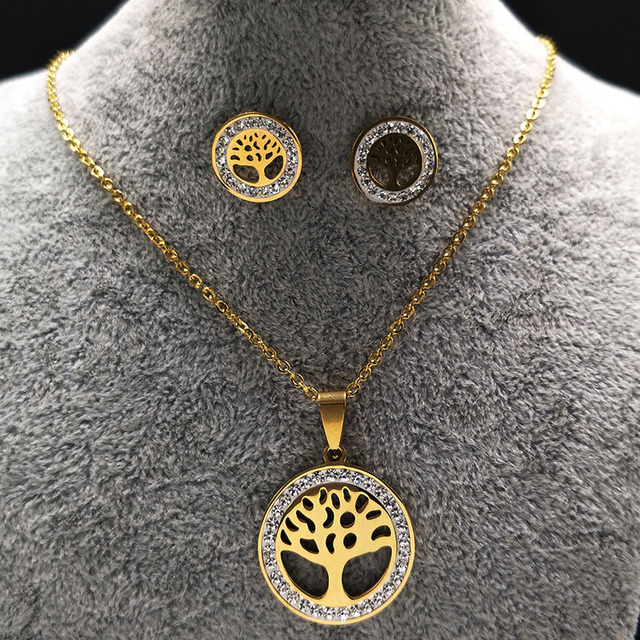282c659ef3dd Pendientes de acero inoxidable collar mujeres cristal oro color Árbol de la  vida joyería Acero inoxidable