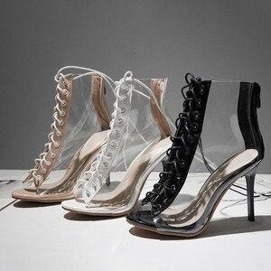 Image 5 - Женские Прозрачные ботинки MORAZORA, черные ботинки гладиаторы с открытым носком, на тонком высоком каблуке, ботильоны для женщин, лето 2019