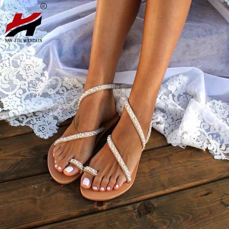NAN JIU MOUNTAIN 2019 Summer Flat Sandals Women's Shoes Toe Rhinestone Pearl Beach Shoes Bohemian Plus Size 35-43