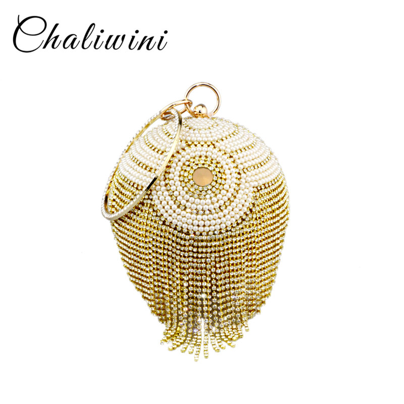 Chaliwini New Design Silver Bowling Shape Totes Bag Beaded Pearl Striped Flower Ball Wristlets Tassel Women Messenger Bags