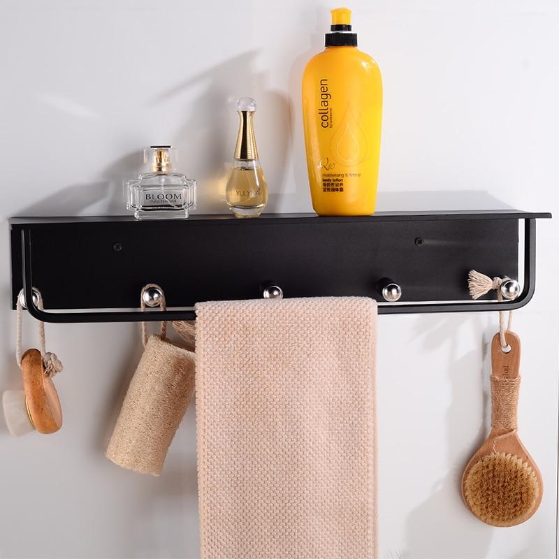 Bathroom Shelves with 5 Hooks Aluminum Black Bathroom Shelf Corner Shelf Storage Rack Wall Mounted Single Towel Bar Holder