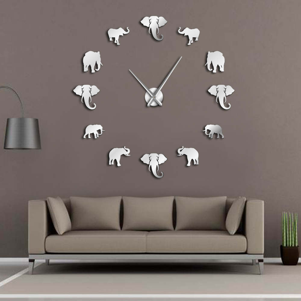 Jungle Animals Elephant DIY Large Wall Clock Home Decor Modern Design Mirror Effect Giant Frameless Elephants DIY Clock Watch(China)
