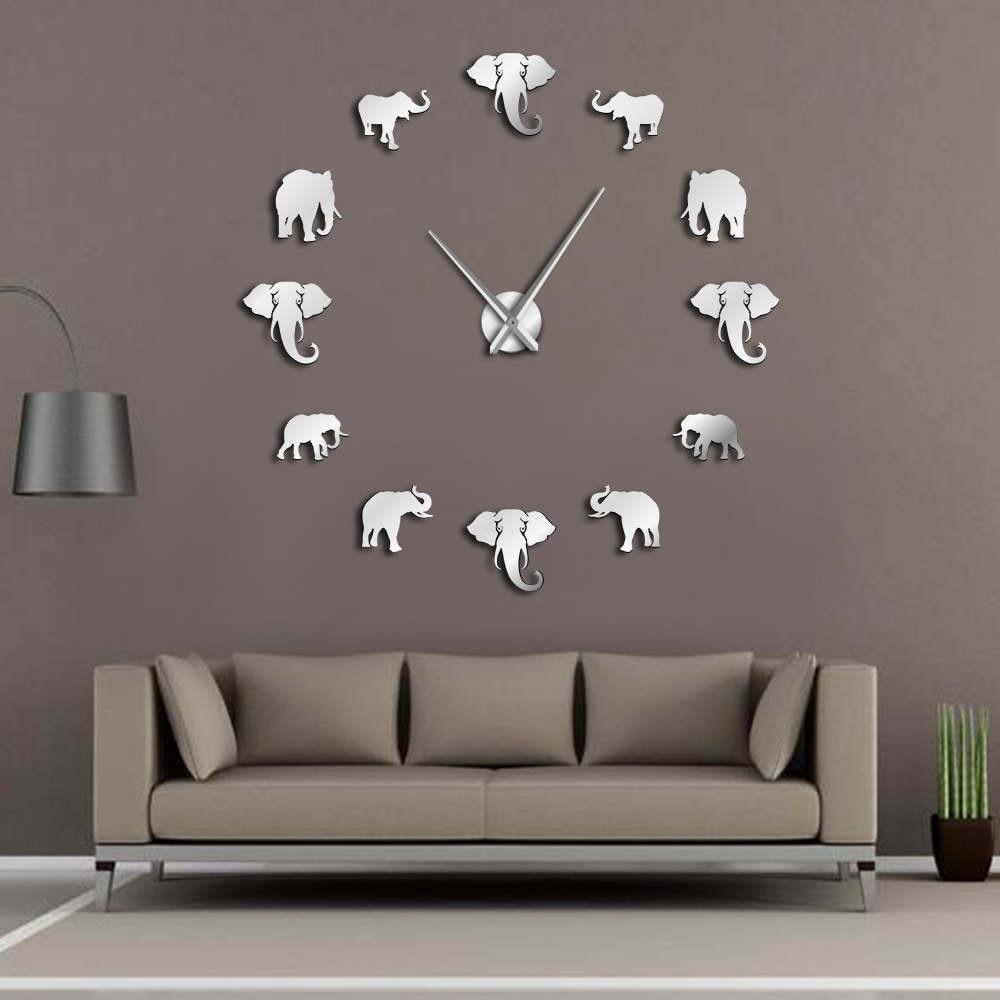Elephant Frameless Wall Clock DIY Home Decor