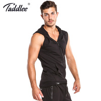 Taddlee Brand Hooded Tank Top Cotton Mens Sleeveless Zip Up Black Solid Color Active Tees Casual