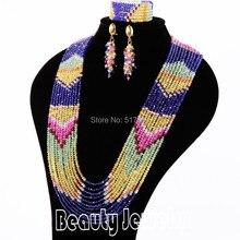 Joyería de moda Multi-Capa de Collares de perlas Africanas joyería conjunto Nuevo Lujo hecha a mano Del Grano de Cristal conjuntos de collar