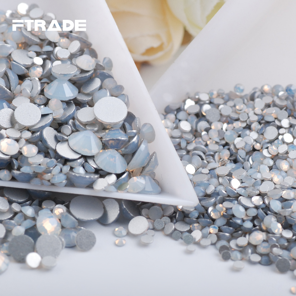 Mixed Size White Opal Glass Nail Art Crystals Hot Sale Non Hotfix Rhinestones Glue on 3D Nails Decoration Strass Accessories