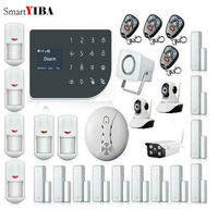 SmartYIBA Wireless Wired GSM Alarm System Wifi Burglar Alarm KIT Russian Spanish Nederland Voice Smart Socket