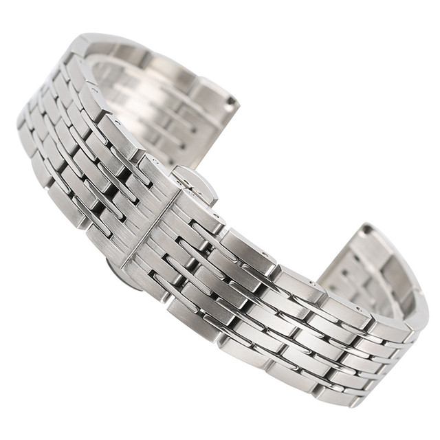 20mm 22mm 24mm Silver Watchband Replacement Solid Stainless Steel Watch Bracelet Band Strap Push