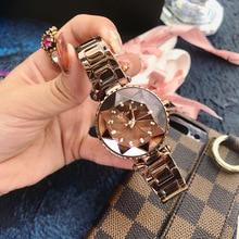 Fashion trend ladies watch cutting surface inlaid rhinestone steel belt beautiful waterproof quartz watch