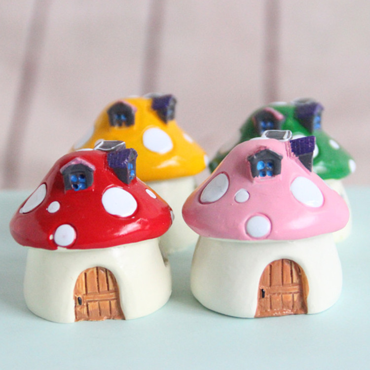 1 piece mini <font><b>resin</b></font> toy fairy mushroom toy garden decoration mushroom house castle micro toy image