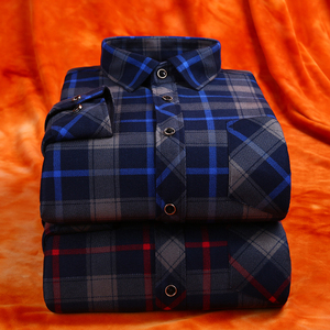 Image 3 - winter casual shirt men warm long sleeve plaid shirts thick velvet mens brand dress shirts male slim fit camisa masculina