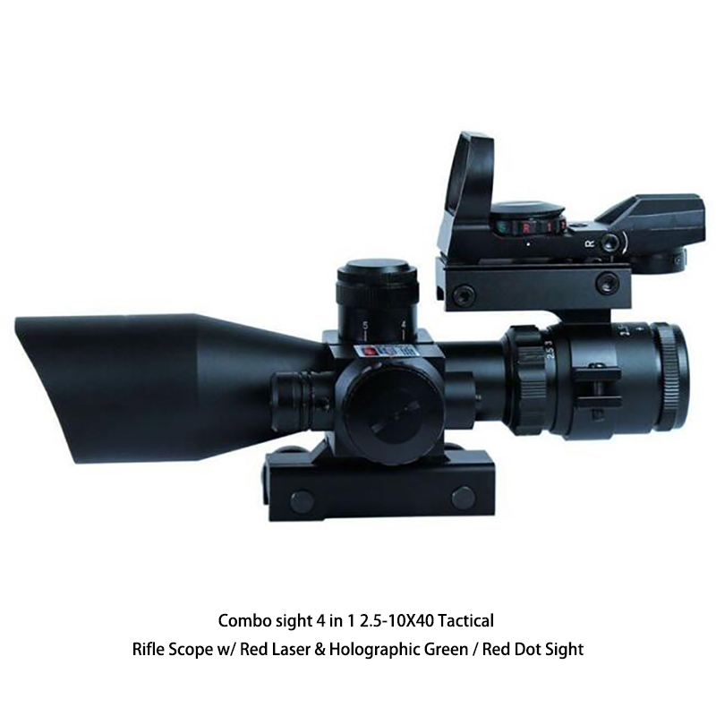 Combo sight 4 in 1 2.5-10X40 Tactical Rifle Scope w/ Red Dot Laser & Holographic Green / Red Dot Sight 3 10x42 red laser m9b tactical rifle scope red green mil dot reticle with side mounted red laser guaranteed 100%