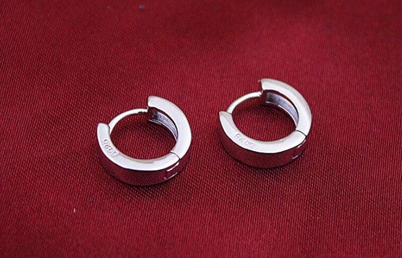 Fashion 925 Sterling Silver Smooth Round Circle Hoop Earrings for Baby Kids Children Girls Loop Huggies Ear Women Jewelry E240 in Hoop Earrings from Jewelry Accessories