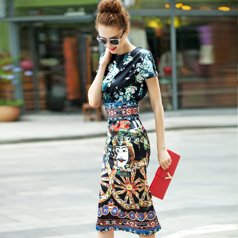 New 2018 Designer Runway Summer style Sheath Dress High Quality Women's Short sleeve Vintage Print Slim Sexy Knee Length Dress