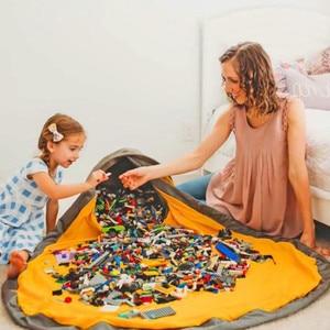 Image 3 - חדש נייד ילדים צעצוע אחסון תיק ולשחק מחצלת לגו צעצועי ארגונית שרוך פאוץ אופנה מעשי אחסון שקיות