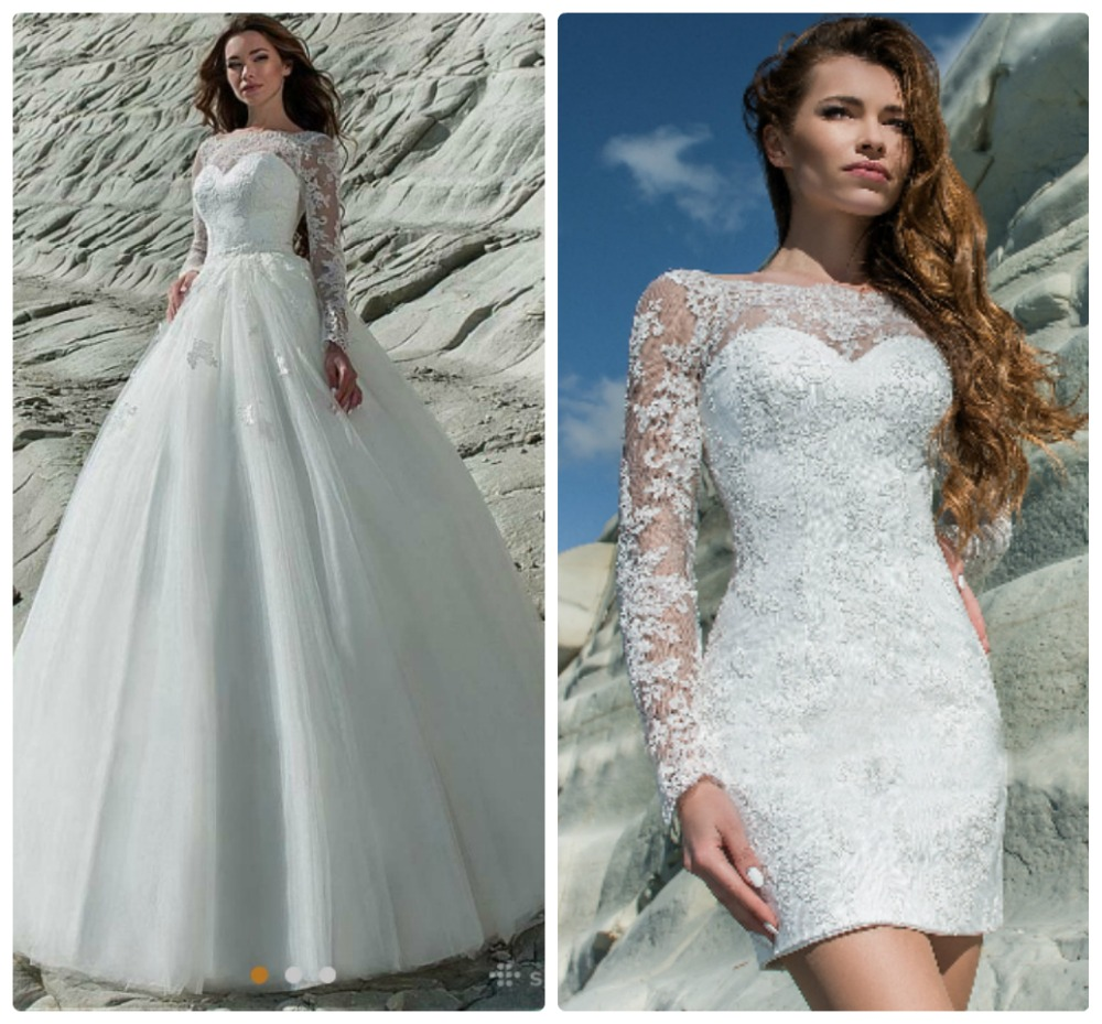 Detachable Trains For Wedding Gowns: New Detachable Train Princess Wedding Dresses Long Sleeves