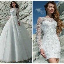 New Detachable Train Princess Wedding Dresses Long Sleeves V