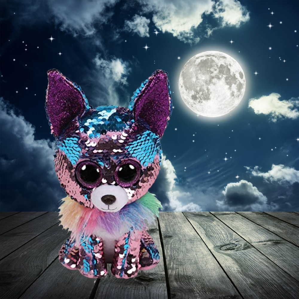 "Ty Flippables YAPPY - The Blue/Purple Sequin Chihuahua Dog Owl Dinosaur Fox- 6""15cm Stuffed Animal Collection Doll Toy"