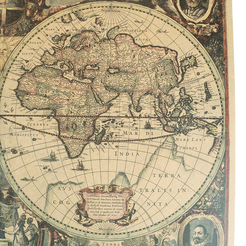 Antique Map Of World.Detail Feedback Questions About Retro World Map Nautical Ocean Map