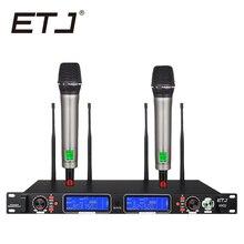ETJ Marca 890D Verdadeira Diversidade Profissional Duplo UHF Microfone Sem Fio 2 Transmissor 4 Receptor de Microfone Performance de Palco