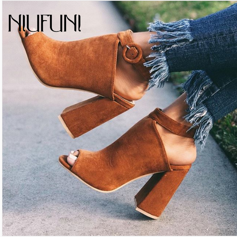 Suede Fashion Peep Toe Thick Heel Buckle Women's Sandals 2020 Summer New Solid Color High Heels Plus Size 35-42 Ladies Shoes
