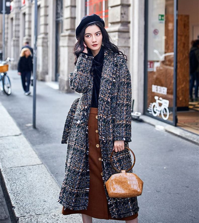 Chic women plaid tweed coat 2018 Fall winter elegant loose overcoat Korean style belted coat D655 in Wool amp Blends from Women 39 s Clothing