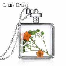LIEBE ENGEL Vintage Jewelry Fashion Dried Flower Statement Necklace & Pendant for Women Glass Collares Silver Color Jewelry 2017