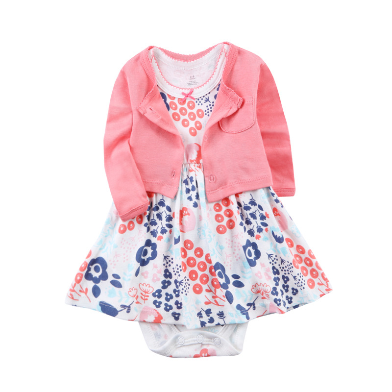 2pcs Set Toddler Dresses Cotton Long Sleeves Shirt Tops Short Sleeve Flower Romper Baby Girls Clothes Infant Girl Clothing Sets 2017 baby clothes set my little boss long sleeve cotton t shirt tops and pant trouser 2pcs outfit bebek giyim clothing set