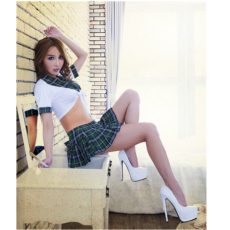 Green red students <font><b>Cosplay</b></font> Game Play Vintage <font><b>Schoolgirl</b></font> uniform temptation costume Fashion Style Womens <font><b>Sexy</b></font> School Uniforms image