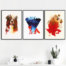 Forest Dog Fox Maple Leaf Watercolor Nordic Posters And Prints Wall Art Canvas Painting Pictures For Living Room Decor
