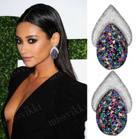 missvikki 2019 Trend Jewelry Luxury Paved Full Crystal Attractive charm silver Stud Earrings 925 original boucle d'oreille femme