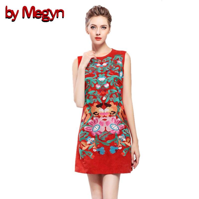 by Megyn vintage dresses 2017 autumn women elegant Noble floral embroidered sundress dress vestidos Tank mini dress for female